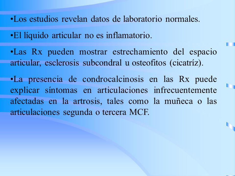 Los estudios revelan datos de laboratorio normales. El líquido articular no es inflamatorio. Las Rx pueden mostrar estrechamiento del espacio articula