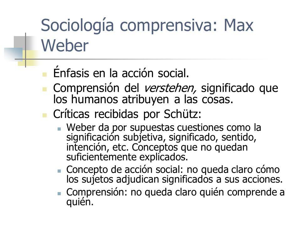 Sociología comprensiva: Max Weber Énfasis en la acción social. Comprensión del verstehen, significado que los humanos atribuyen a las cosas. Críticas