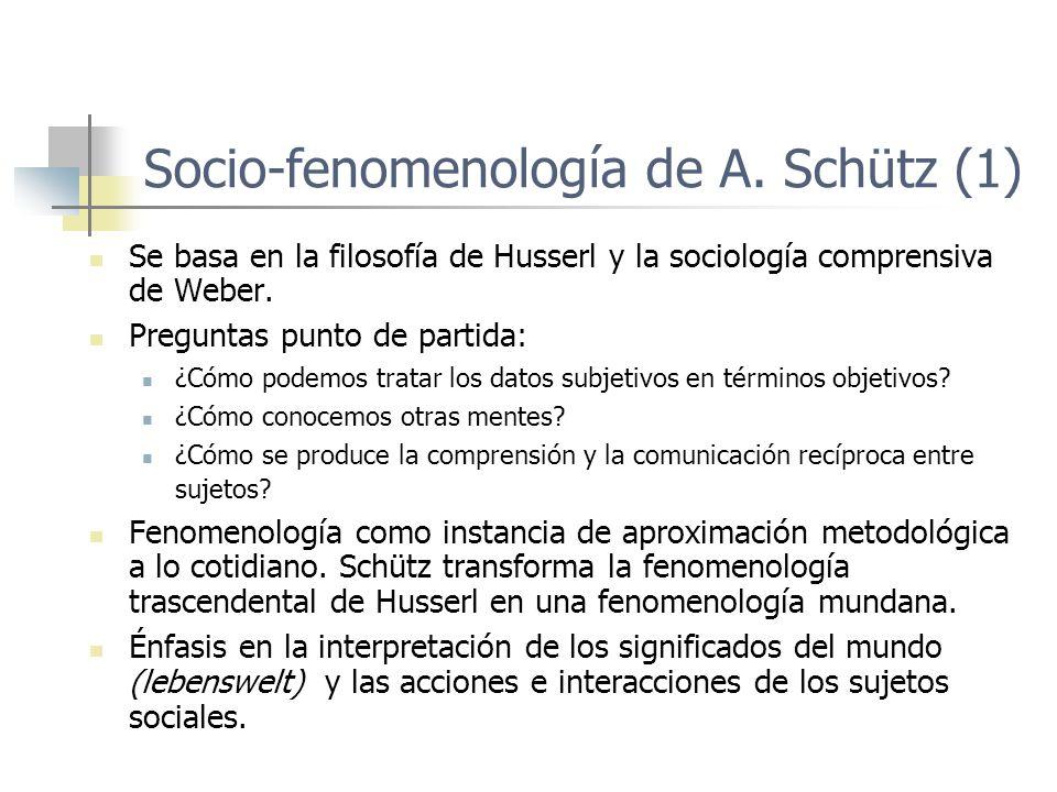 Socio-fenomenología de A. Schütz (1) Se basa en la filosofía de Husserl y la sociología comprensiva de Weber. Preguntas punto de partida: ¿Cómo podemo