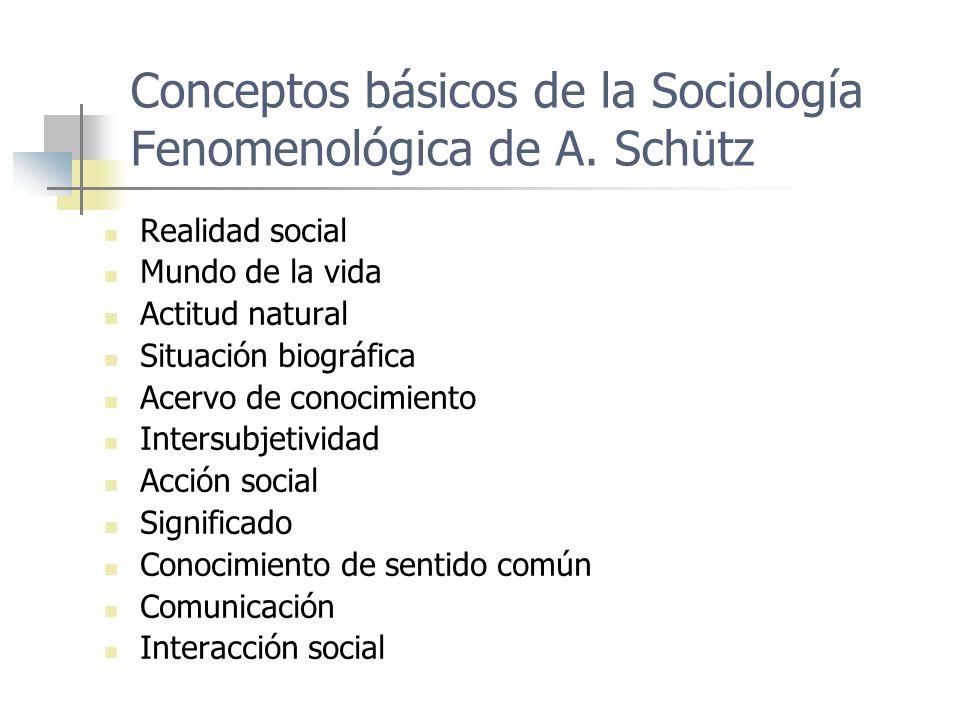 Conceptos básicos de la Sociología Fenomenológica de A. Schütz Realidad social Mundo de la vida Actitud natural Situación biográfica Acervo de conocim