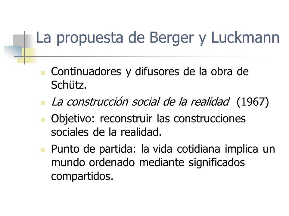 La propuesta de Berger y Luckmann Continuadores y difusores de la obra de Schütz. La construcción social de la realidad (1967) Objetivo: reconstruir l