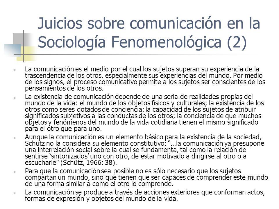 Juicios sobre comunicación en la Sociología Fenomenológica (2) La comunicación es el medio por el cual los sujetos superan su experiencia de la trasce
