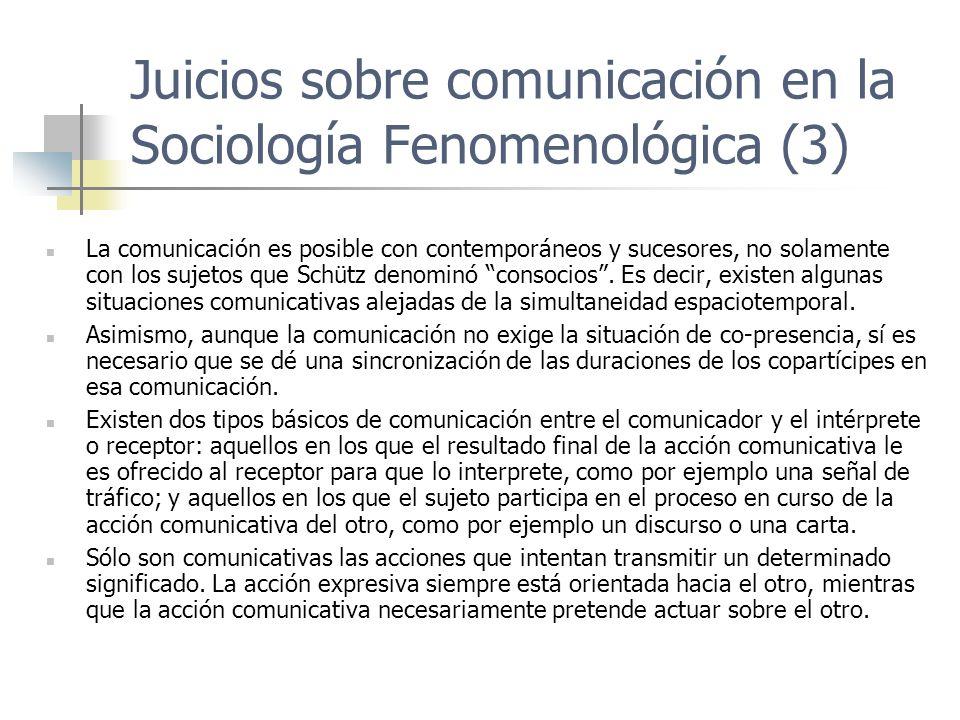 Juicios sobre comunicación en la Sociología Fenomenológica (3) La comunicación es posible con contemporáneos y sucesores, no solamente con los sujetos