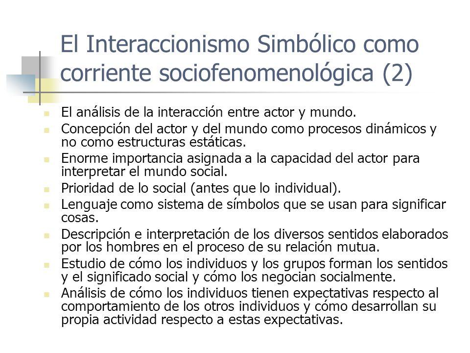 El Interaccionismo Simbólico como corriente sociofenomenológica (2) El análisis de la interacción entre actor y mundo. Concepción del actor y del mund