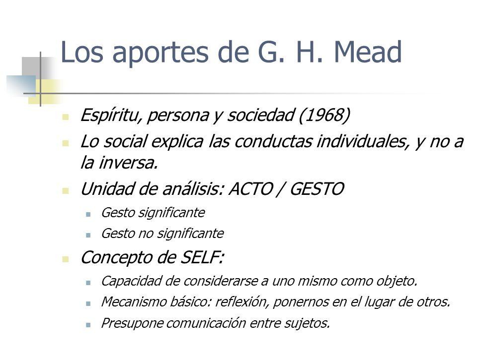 Los aportes de G. H. Mead Espíritu, persona y sociedad (1968) Lo social explica las conductas individuales, y no a la inversa. Unidad de análisis: ACT