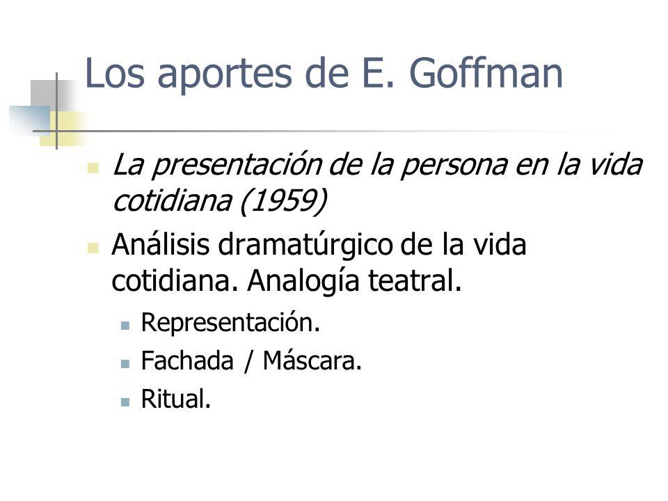 Los aportes de E. Goffman La presentación de la persona en la vida cotidiana (1959) Análisis dramatúrgico de la vida cotidiana. Analogía teatral. Repr