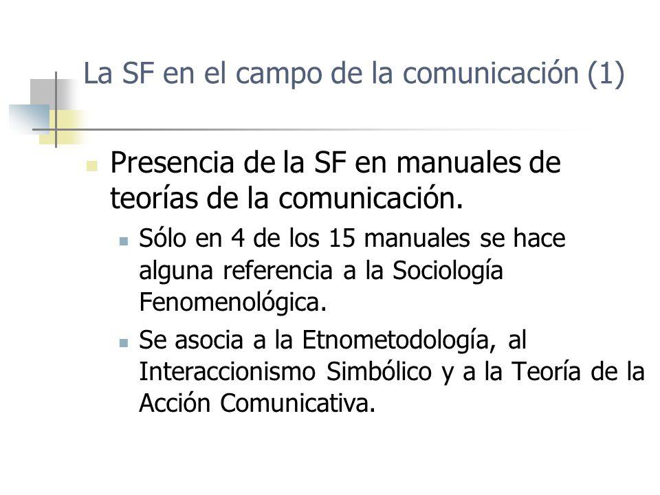 La SF en el campo de la comunicación (1) Presencia de la SF en manuales de teorías de la comunicación. Sólo en 4 de los 15 manuales se hace alguna ref