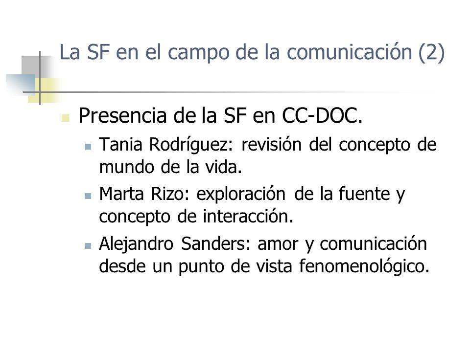 La SF en el campo de la comunicación (2) Presencia de la SF en CC-DOC. Tania Rodríguez: revisión del concepto de mundo de la vida. Marta Rizo: explora