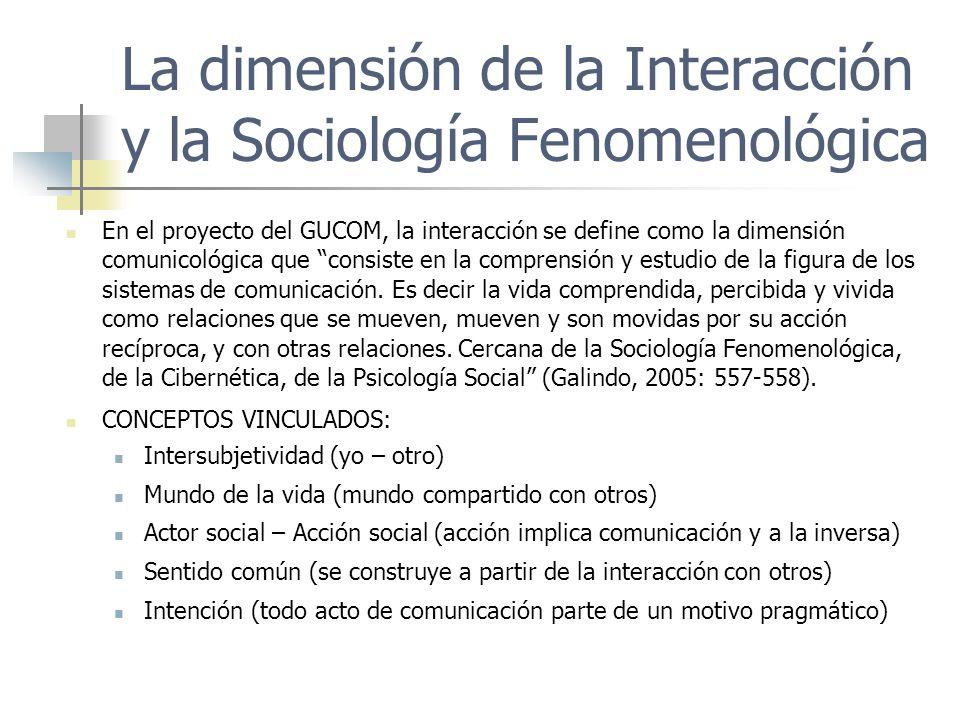 La dimensión de la Interacción y la Sociología Fenomenológica En el proyecto del GUCOM, la interacción se define como la dimensión comunicológica que