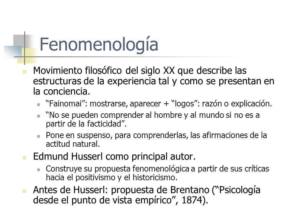 Fenomenología Movimiento filosófico del siglo XX que describe las estructuras de la experiencia tal y como se presentan en la conciencia. Fainomai: mo