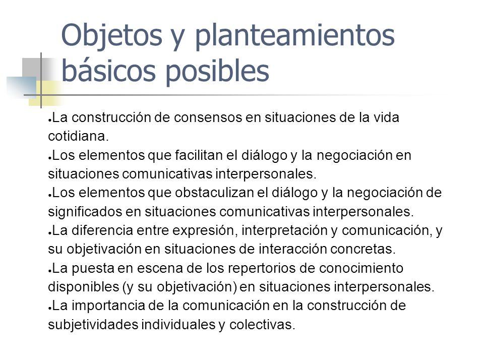 Objetos y planteamientos básicos posibles La construcción de consensos en situaciones de la vida cotidiana. Los elementos que facilitan el diálogo y l