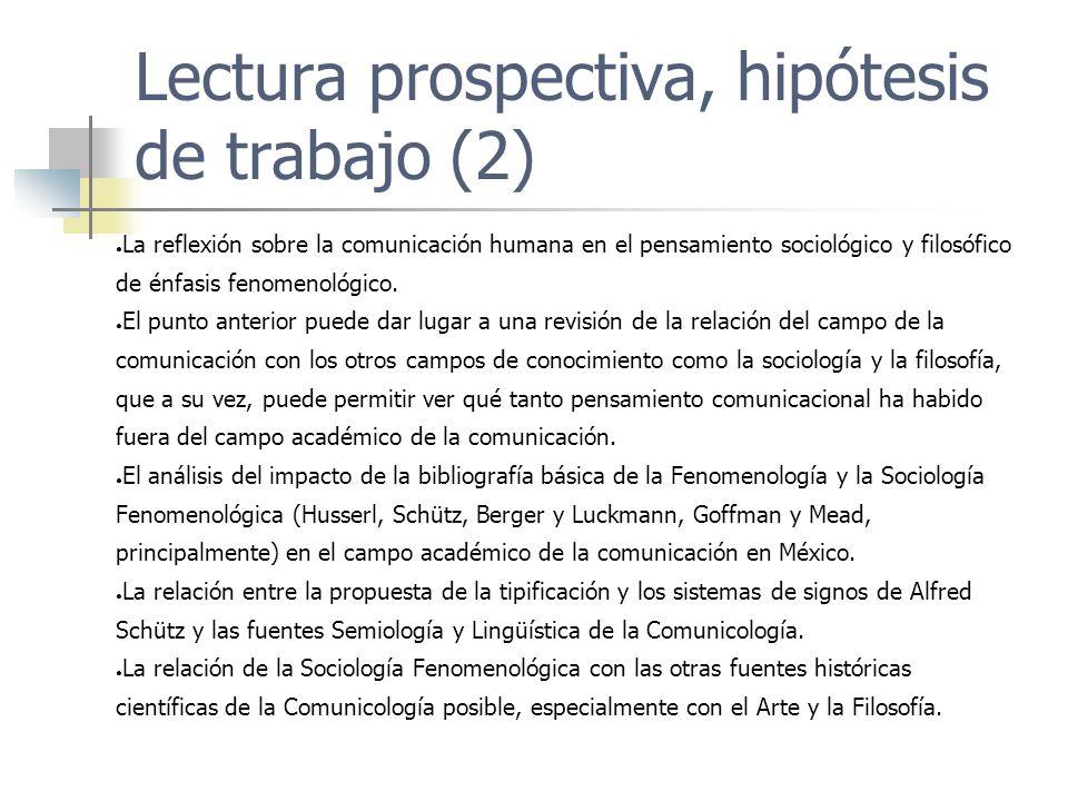 Lectura prospectiva, hipótesis de trabajo (2) La reflexión sobre la comunicación humana en el pensamiento sociológico y filosófico de énfasis fenomeno