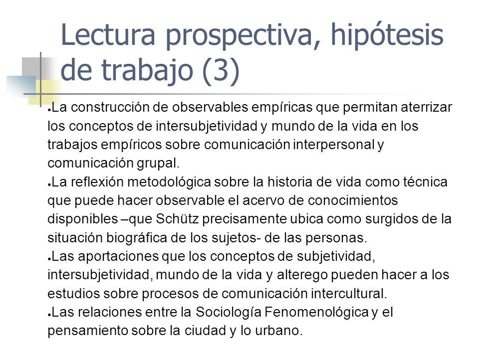 Lectura prospectiva, hipótesis de trabajo (3) La construcción de observables empíricas que permitan aterrizar los conceptos de intersubjetividad y mun