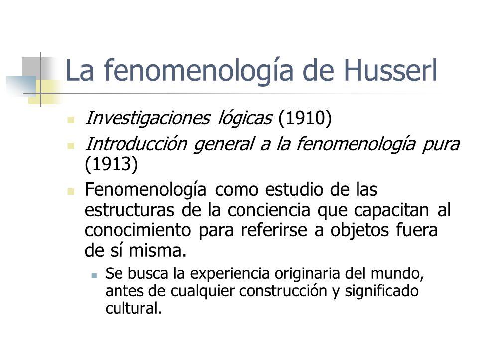 La fenomenología de Husserl Investigaciones lógicas (1910) Introducción general a la fenomenología pura (1913) Fenomenología como estudio de las estru