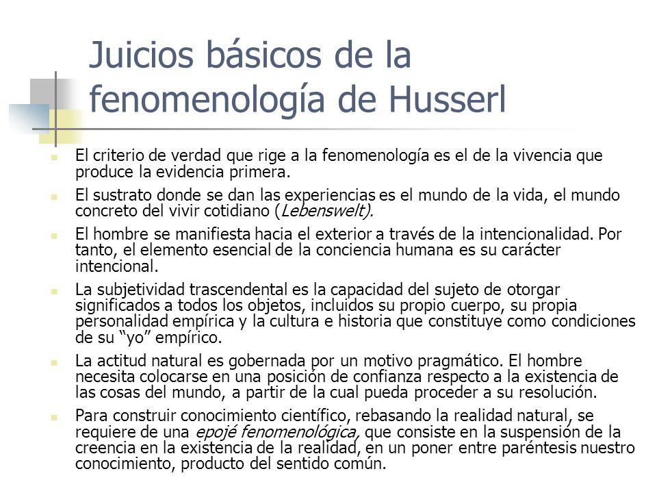 Juicios básicos de la fenomenología de Husserl El criterio de verdad que rige a la fenomenología es el de la vivencia que produce la evidencia primera