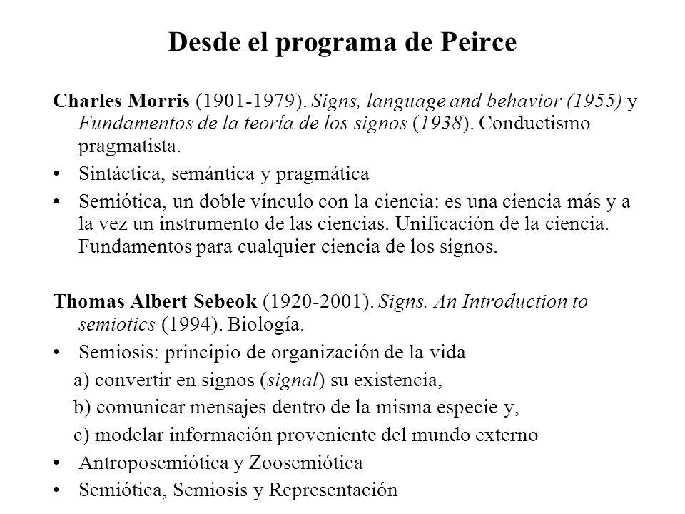 Desde el programa de Peirce Charles Morris (1901-1979). Signs, language and behavior (1955) y Fundamentos de la teoría de los signos (1938). Conductis