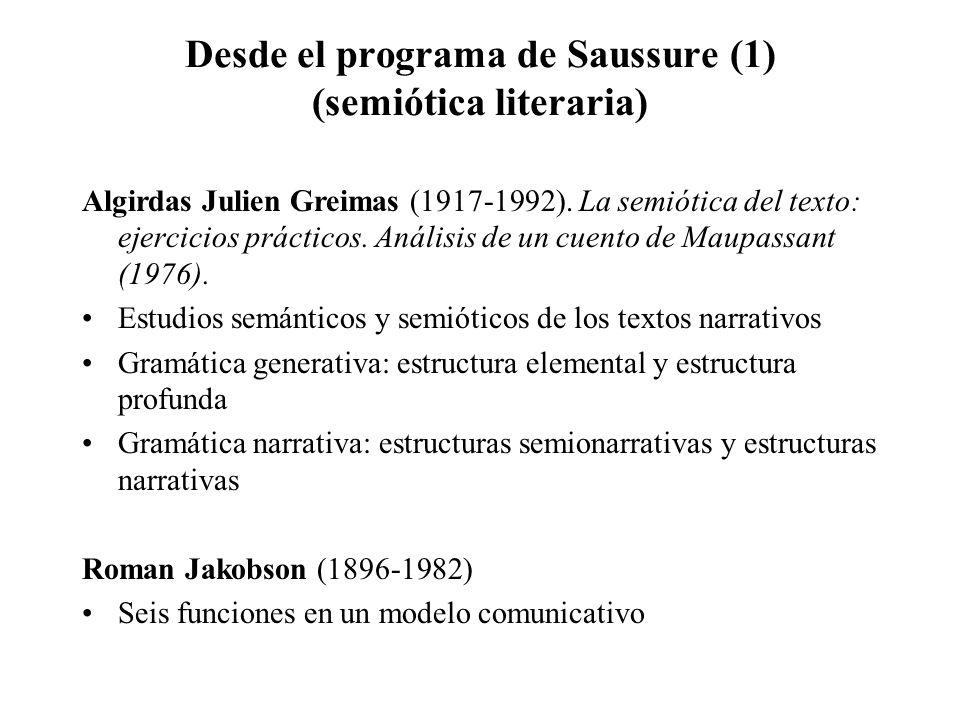 Desde el programa de Saussure (1) (semiótica literaria) Algirdas Julien Greimas (1917-1992). La semiótica del texto: ejercicios prácticos. Análisis de