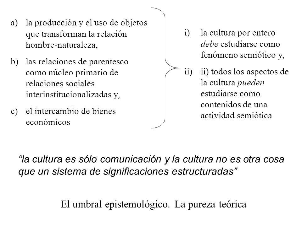 a)la producción y el uso de objetos que transforman la relación hombre-naturaleza, b)las relaciones de parentesco como núcleo primario de relaciones s