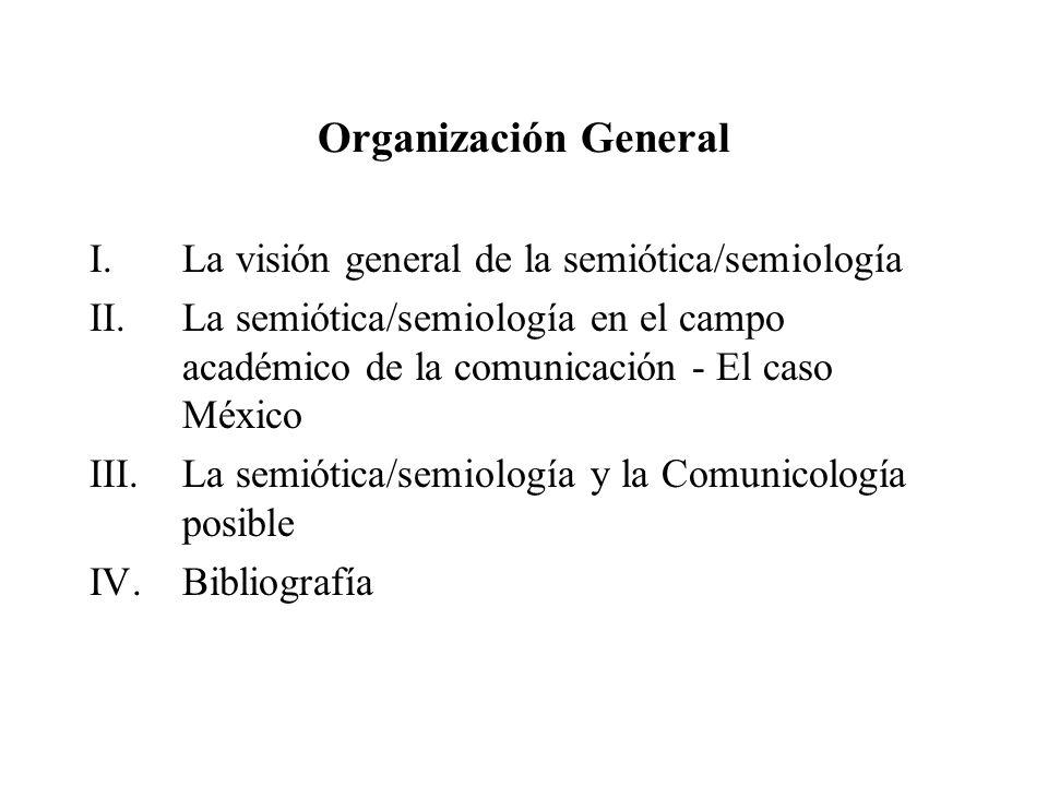 Organización General I.La visión general de la semiótica/semiología II.La semiótica/semiología en el campo académico de la comunicación - El caso Méxi