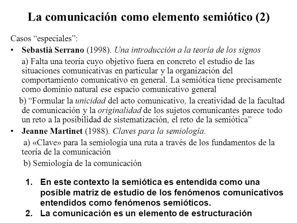 La comunicación como elemento semiótico (2) Casos especiales: Sebastià Serrano (1998). Una introducción a la teoría de los signos a) Falta una teoría