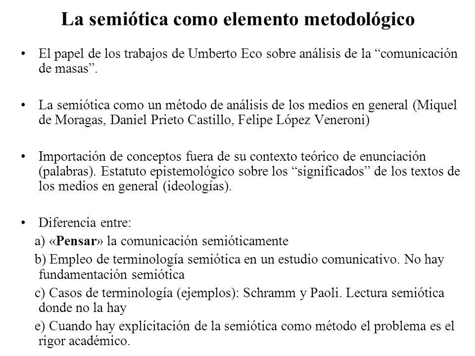 La semiótica como elemento metodológico El papel de los trabajos de Umberto Eco sobre análisis de la comunicación de masas. La semiótica como un métod