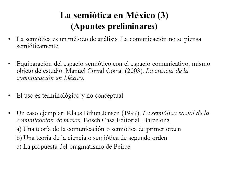 La semiótica en México (3) (Apuntes preliminares) La semiótica es un método de análisis. La comunicación no se piensa semióticamente Equiparación del