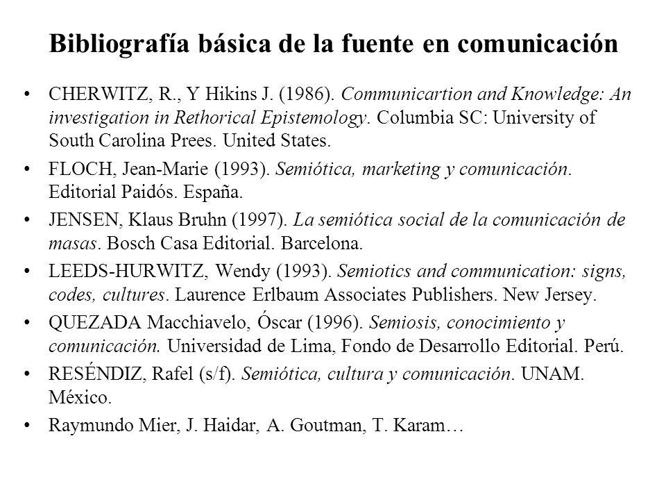 Bibliografía básica de la fuente en comunicación CHERWITZ, R., Y Hikins J. (1986). Communicartion and Knowledge: An investigation in Rethorical Episte