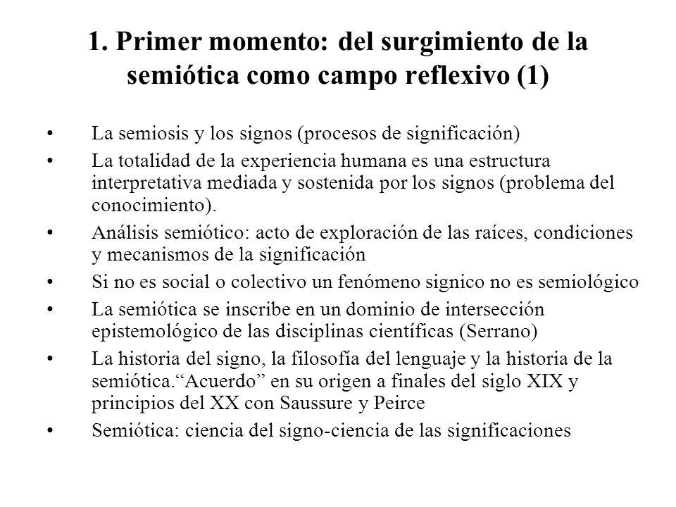 1. Primer momento: del surgimiento de la semiótica como campo reflexivo (1) La semiosis y los signos (procesos de significación) La totalidad de la ex