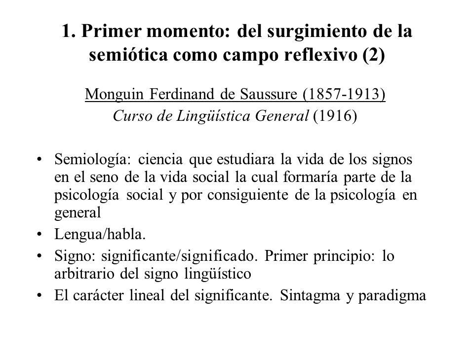 1. Primer momento: del surgimiento de la semiótica como campo reflexivo (2) Monguin Ferdinand de Saussure (1857-1913) Curso de Lingüística General (19