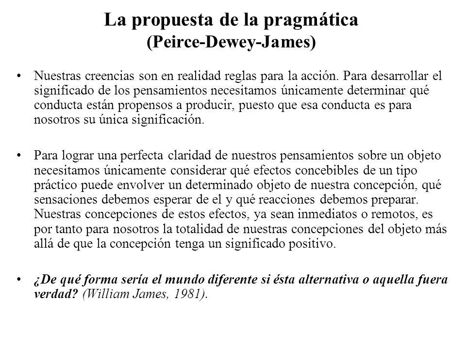 La propuesta de la pragmática (Peirce-Dewey-James) Nuestras creencias son en realidad reglas para la acción. Para desarrollar el significado de los pe