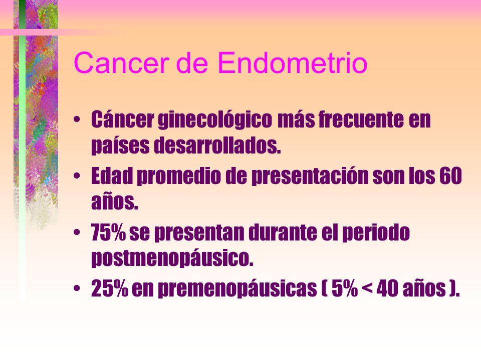 Cancer de Endometrio Cáncer ginecológico más frecuente en países desarrollados. Edad promedio de presentación son los 60 años. 75% se presentan durant