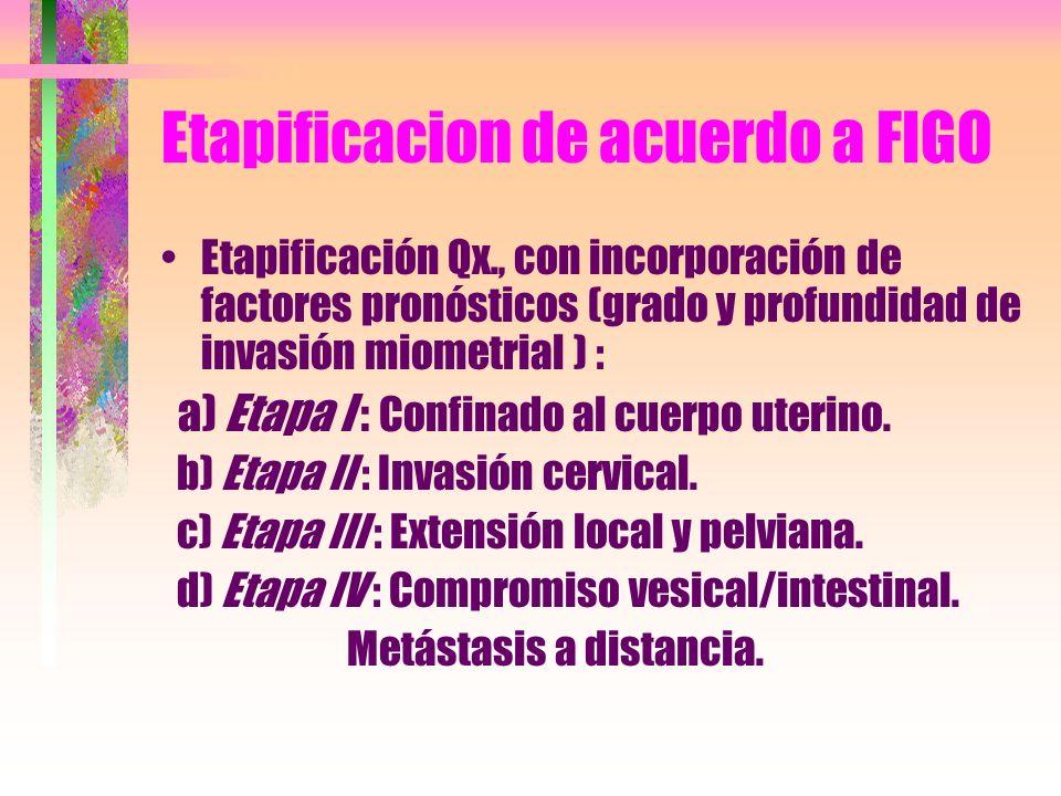 Etapificacion de acuerdo a FIGO Etapificación Qx., con incorporación de factores pronósticos (grado y profundidad de invasión miometrial ) : a) Etapa