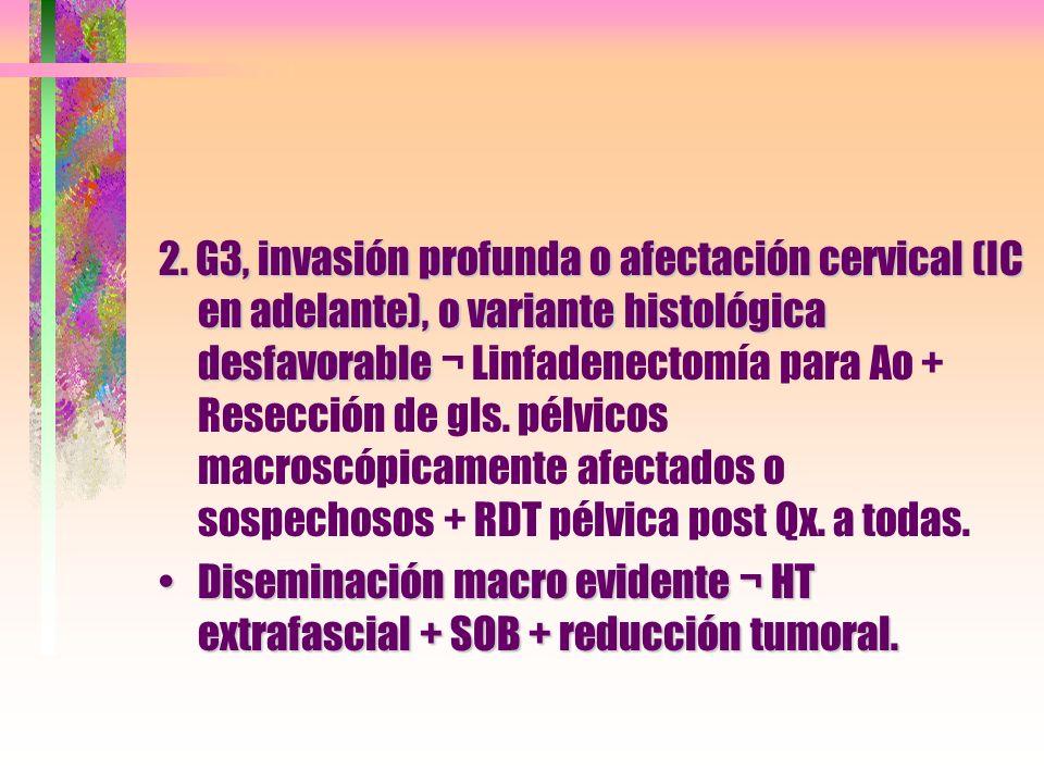 2. G3, invasión profunda o afectación cervical (IC en adelante), o variante histológica desfavorable 2. G3, invasión profunda o afectación cervical (I
