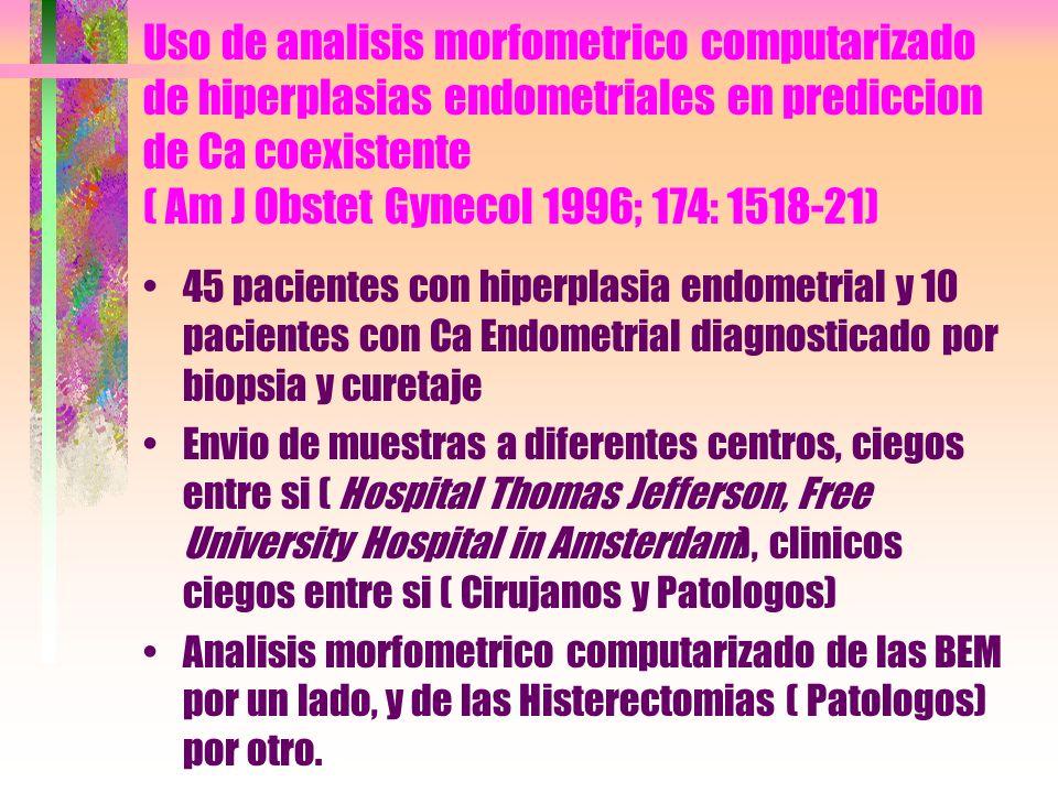 Uso de analisis morfometrico computarizado de hiperplasias endometriales en prediccion de Ca coexistente ( Am J Obstet Gynecol 1996; 174: 1518-21) 45