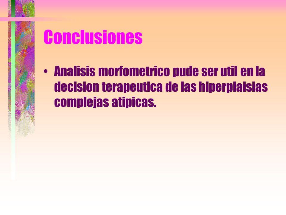 Conclusiones Analisis morfometrico pude ser util en la decision terapeutica de las hiperplaisias complejas atipicas.