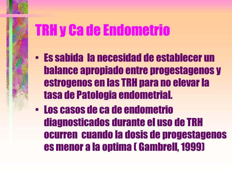TRH y Ca de Endometrio Es sabida la necesidad de establecer un balance apropiado entre progestagenos y estrogenos en las TRH para no elevar la tasa de