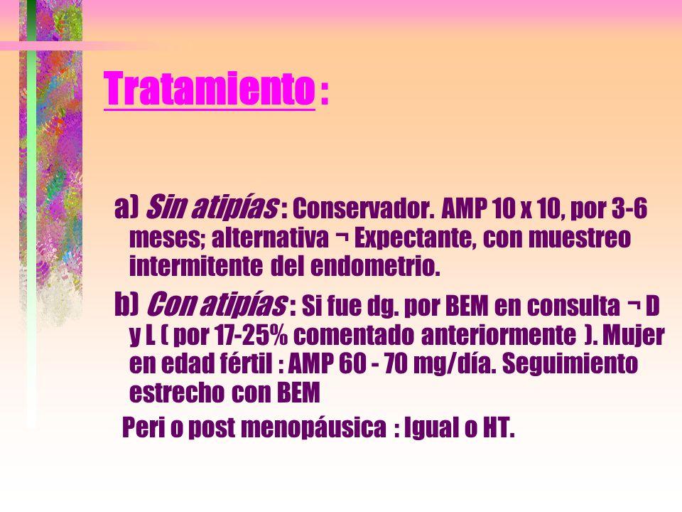 Tratamiento : a) Sin atipías : Conservador. AMP 10 x 10, por 3-6 meses; alternativa ¬ Expectante, con muestreo intermitente del endometrio. b) Con ati