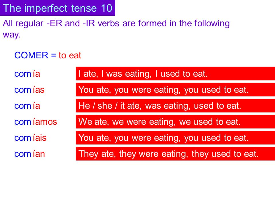 All regular -ER and -IR verbs are formed in the following way. COMER = to eat com ía ías ía íamos ían íais The imperfect tense 10 I ate, I was eating,
