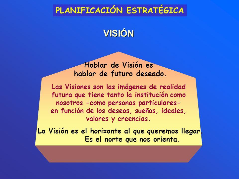 Las Visiones son las imágenes de realidad futura que tiene tanto la institución como nosotros -como personas particulares- en función de los deseos, s