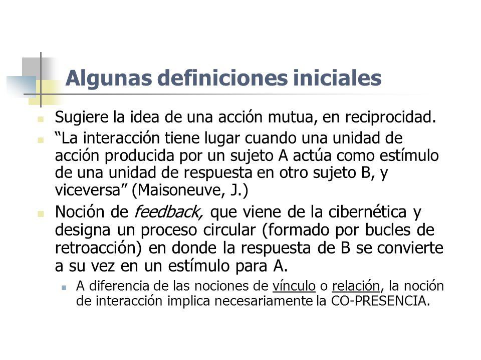 Algunas definiciones iniciales Sugiere la idea de una acción mutua, en reciprocidad. La interacción tiene lugar cuando una unidad de acción producida