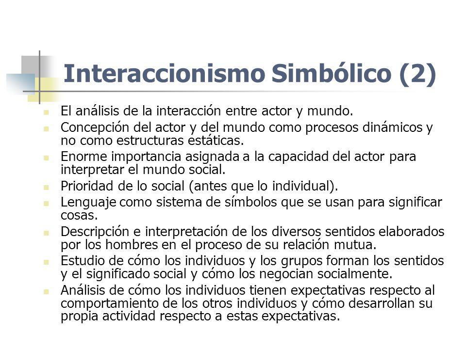 Interaccionismo Simbólico (2) El análisis de la interacción entre actor y mundo. Concepción del actor y del mundo como procesos dinámicos y no como es