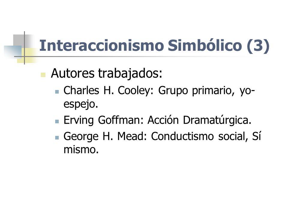 Autores trabajados: Charles H. Cooley: Grupo primario, yo- espejo. Erving Goffman: Acción Dramatúrgica. George H. Mead: Conductismo social, Sí mismo.