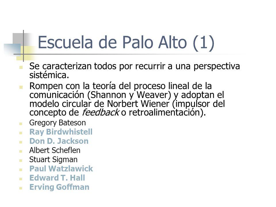 Escuela de Palo Alto (1) Se caracterizan todos por recurrir a una perspectiva sistémica. Rompen con la teoría del proceso lineal de la comunicación (S
