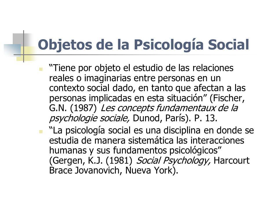Objetos de la Psicología Social Tiene por objeto el estudio de las relaciones reales o imaginarias entre personas en un contexto social dado, en tanto