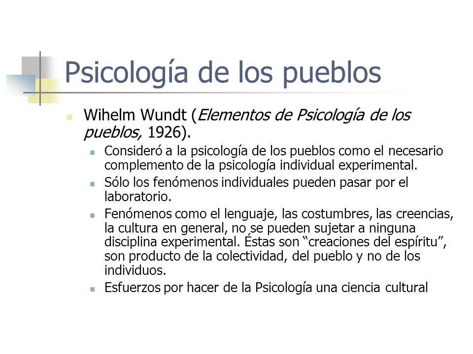 Psicología de los pueblos Wihelm Wundt (Elementos de Psicología de los pueblos, 1926). Consideró a la psicología de los pueblos como el necesario comp