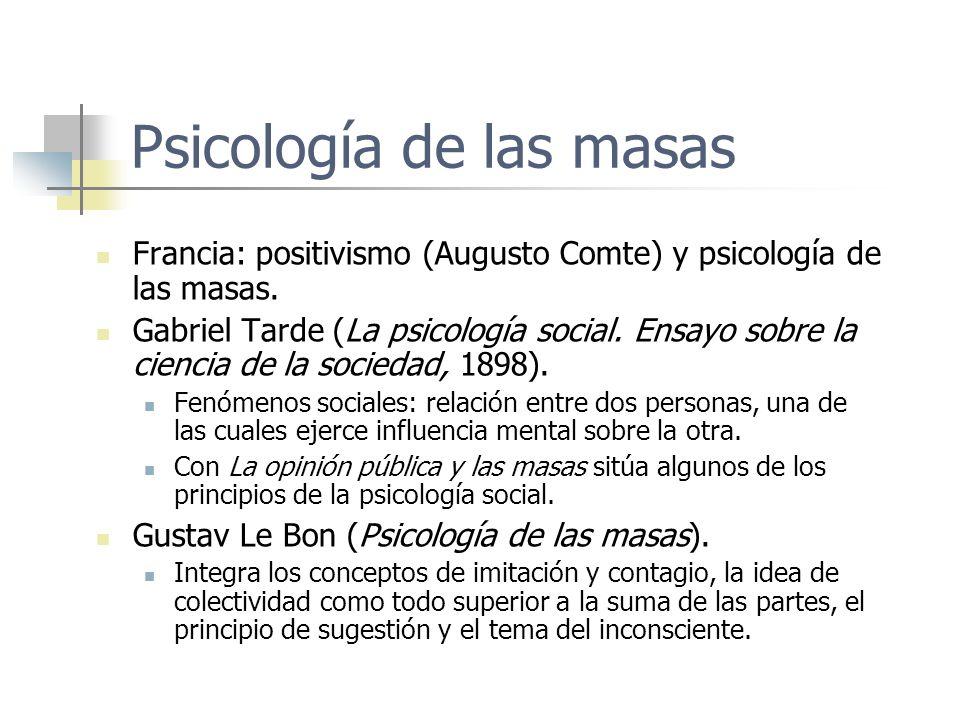 Psicología de las masas Francia: positivismo (Augusto Comte) y psicología de las masas. Gabriel Tarde (La psicología social. Ensayo sobre la ciencia d