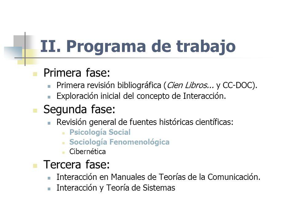 II. Programa de trabajo Primera fase: Primera revisión bibliográfica (Cien Libros... y CC-DOC). Exploración inicial del concepto de Interacción. Segun