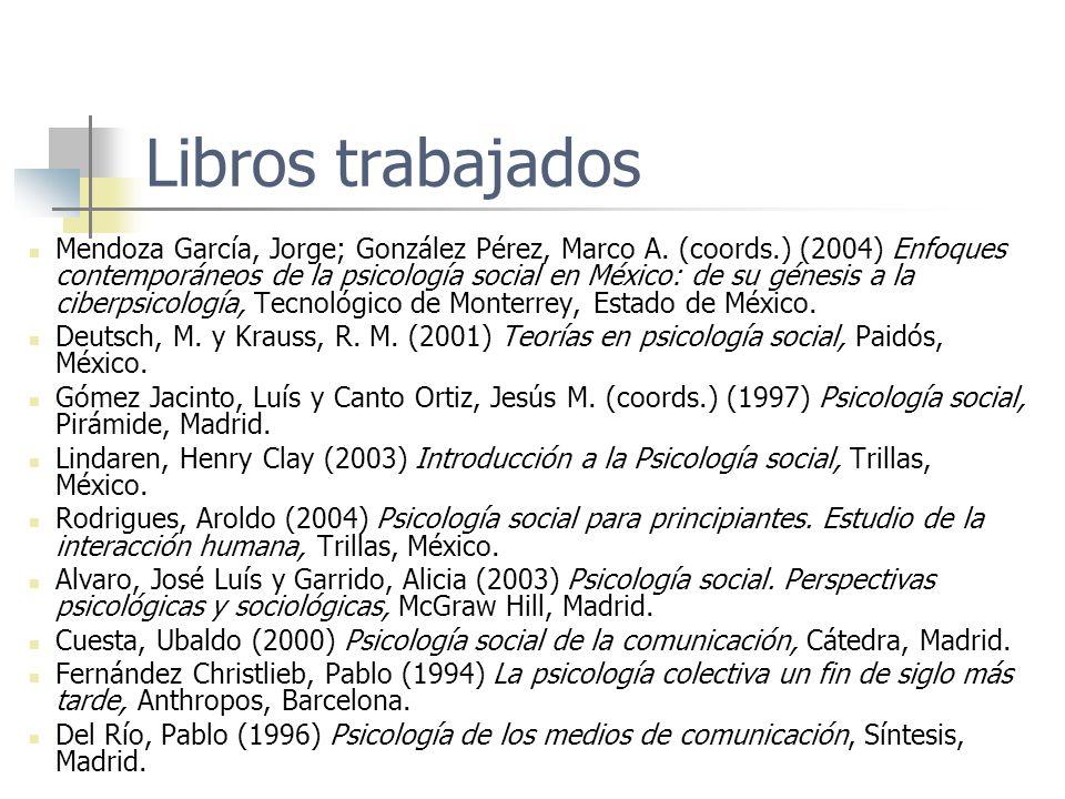 Libros trabajados Mendoza García, Jorge; González Pérez, Marco A. (coords.) (2004) Enfoques contemporáneos de la psicología social en México: de su gé
