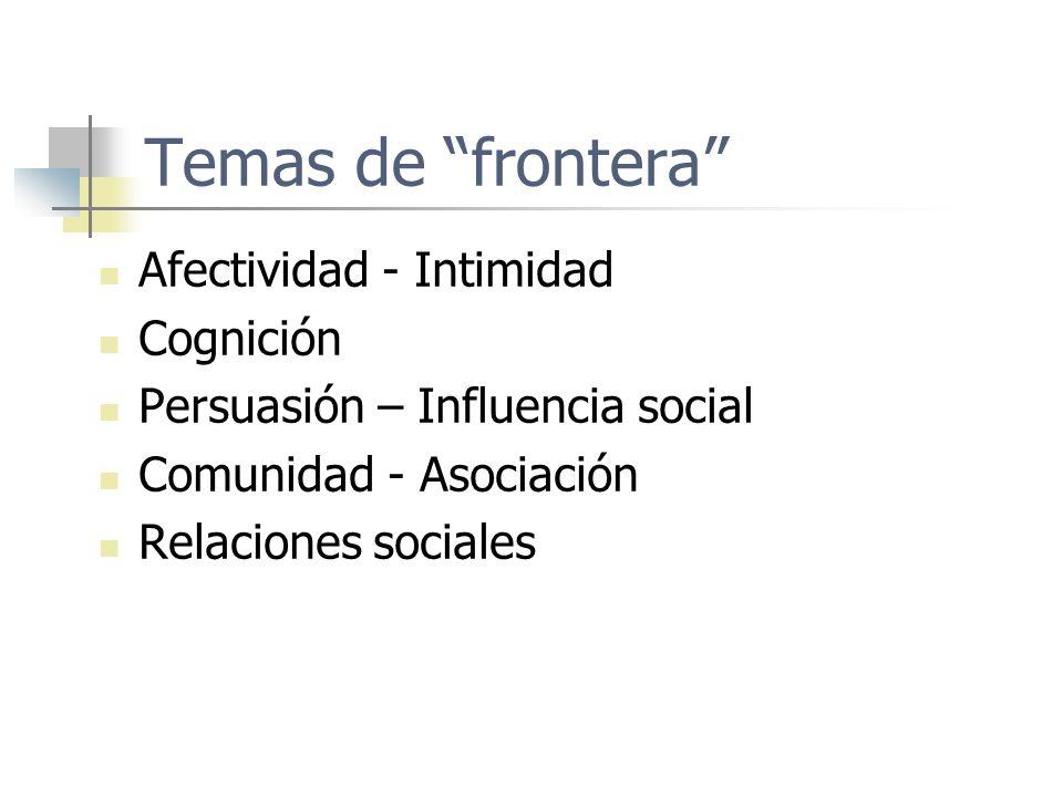 Temas de frontera Afectividad - Intimidad Cognición Persuasión – Influencia social Comunidad - Asociación Relaciones sociales