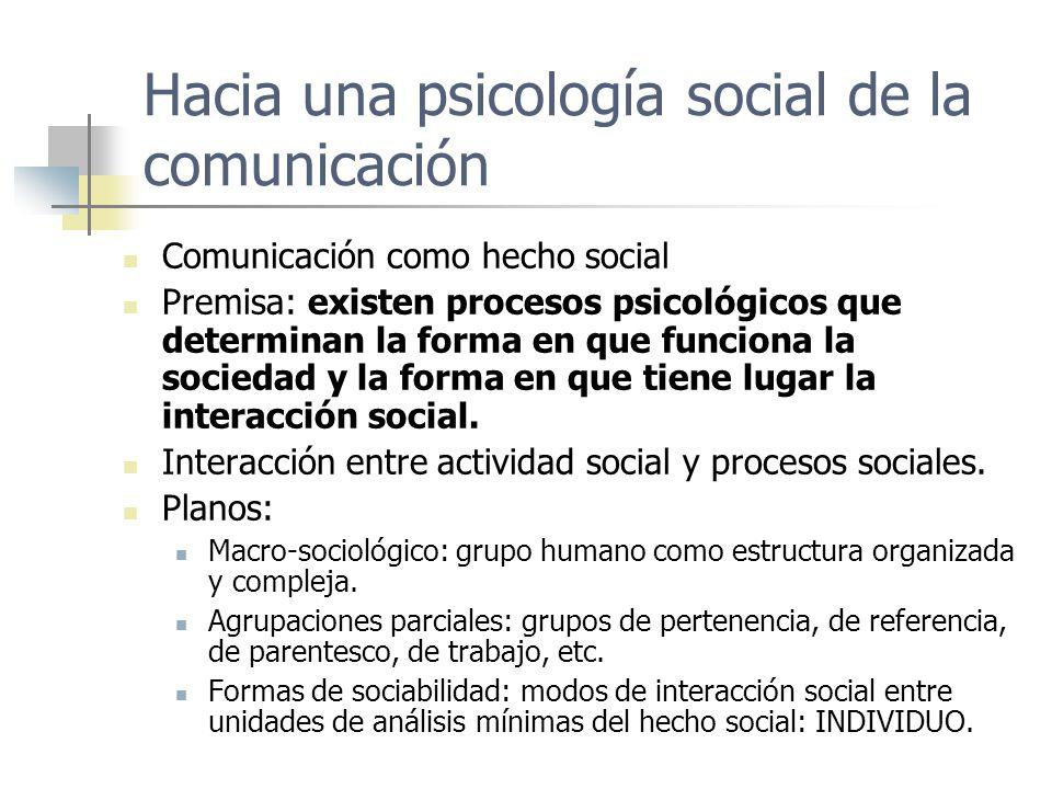 Hacia una psicología social de la comunicación Comunicación como hecho social Premisa: existen procesos psicológicos que determinan la forma en que fu